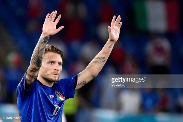 Ciro Immobile of Italy celebrates the victory at the end of the Uefa Euro 2020 Group A football match between Italy and Switzerland. Italy won 3-0...