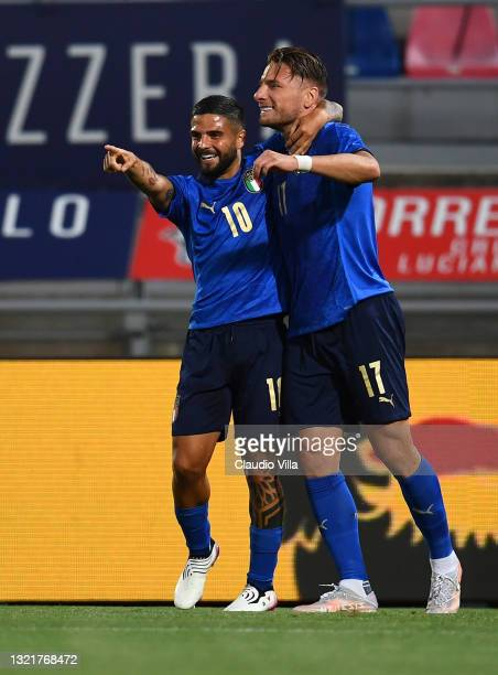 Ciro Immobile of Italy celebrates with Lorenzo Insigne after scoring the goal during the international friendly match between Italy and Czech...