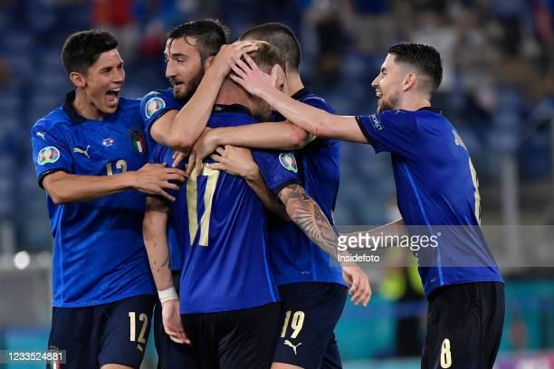 Ciro Immobile of Italy celebrates with Matteo Pessina, Bryan Cristante, Leonardo Bonucci and Jorge Luiz Frello Filho Jorginho after scoring the goal...