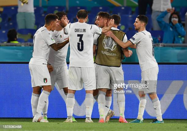 Ciro Immobile of Italy celebrates with team mates after scoring their side's second goal during the UEFA Euro 2020 Championship Group A match between...