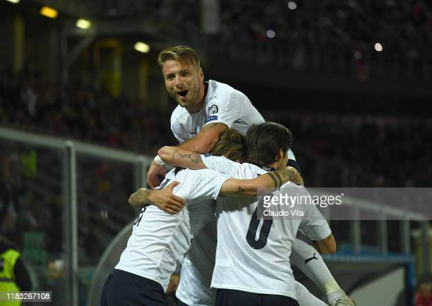 Ciro Immobile of Italy celebrates with teammates after scoring the goal during the UEFA Euro 2020 Qualifier between Italy and Armenia on November 18...