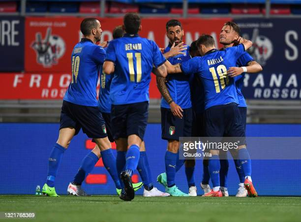 Ciro Immobile of Italy celebrates with team-mates after scoring the goal during the international friendly match between Italy and Czech Republic at...
