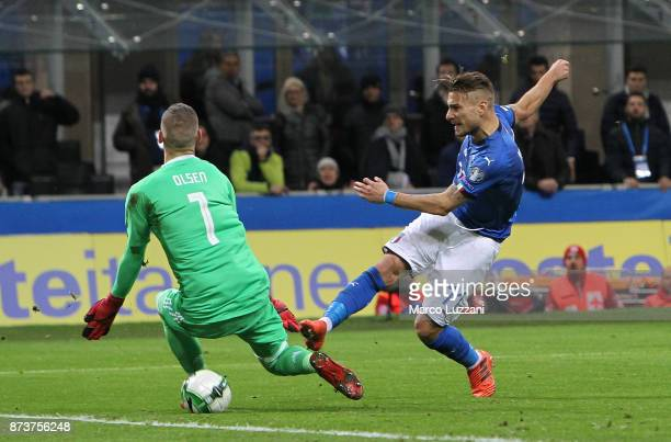 Ciro Immobile of Italy competes for the ball with Robin Olsen of Sweden during the FIFA 2018 World Cup Qualifier PlayOff Second Leg between Italy and...