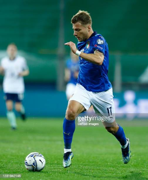 Ciro Immobile of Italy controls the ball during the FIFA World Cup 2022 Qatar qualifying match between Italy and Northern Ireland on March 25, 2021...
