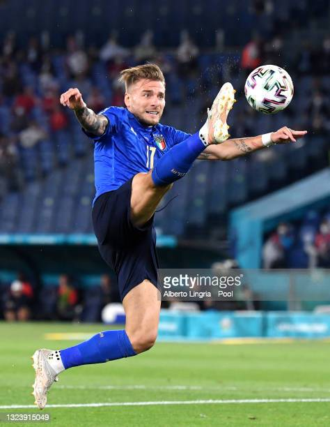 Ciro Immobile of Italy controls the ball during the UEFA Euro 2020 Championship Group A match between Italy and Switzerland at Olimpico Stadium on...