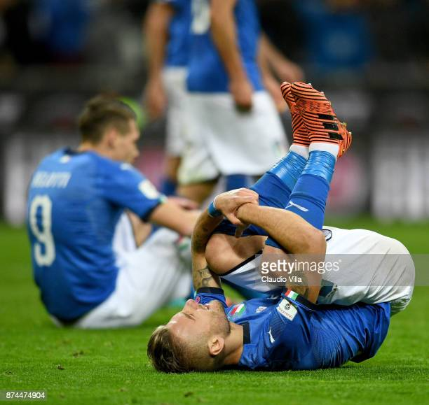 Ciro Immobile of Italy dejected during the FIFA 2018 World Cup Qualifier Play-Off: Second Leg between Italy and Sweden at San Siro Stadium on...