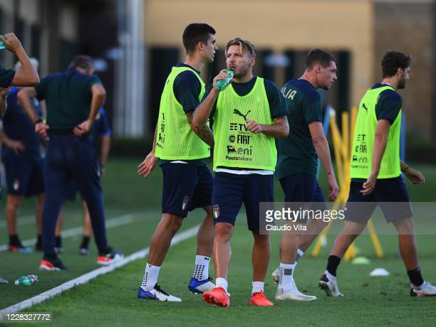 Ciro Immobile of Italy drinks water during a training session at Centro Tecnico Federale di Coverciano on September 3, 2020 in Florence, Italy.