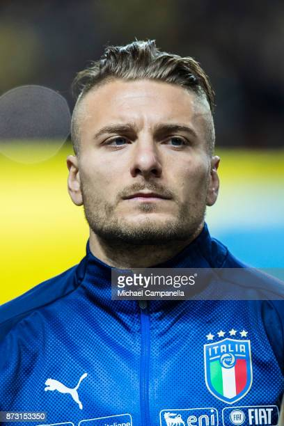 Ciro Immobile of Italy during the FIFA 2018 World Cup Qualifier PlayOff First Leg between Sweden and Italy at Friends arena on November 10 2017 in...