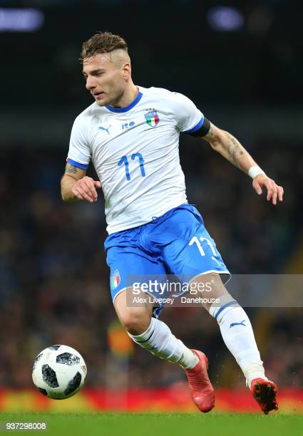 Ciro Immobile of Italy during the International friendly match between Argentina and Italy at Etihad Stadium on March 23 2018 in Manchester England