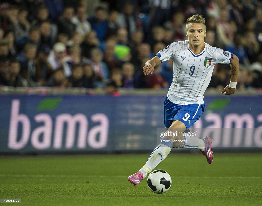 Ciro Immobile of Italy during the UEFA EURO 2016 qualifier match between Norway and Italy at Ullevaal Stadion on September 9, 2014 in Oslo, Norway.