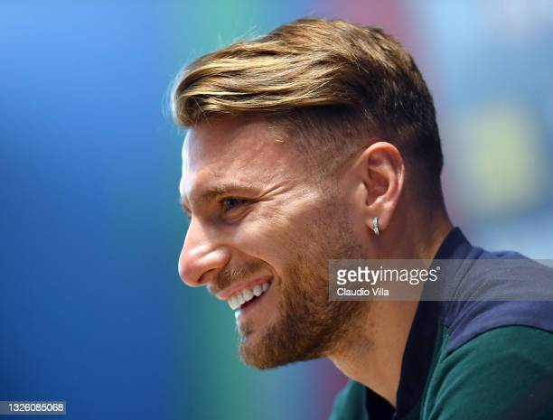 Ciro Immobile of Italy in action during a press conference at Centro Tecnico Federale di Coverciano on June 29, 2021 in Florence, Italy.