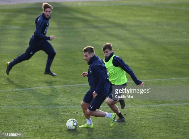 Ciro Immobile of Italy in action during a training session at Centro Tecnico Federale di Coverciano on March 19 2019 in Florence Italy