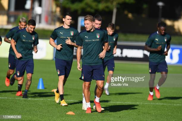 Ciro Immobile of Italy in action during a training session at Centro Tecnico Federale di Coverciano on October 8, 2020 in Florence, Italy.