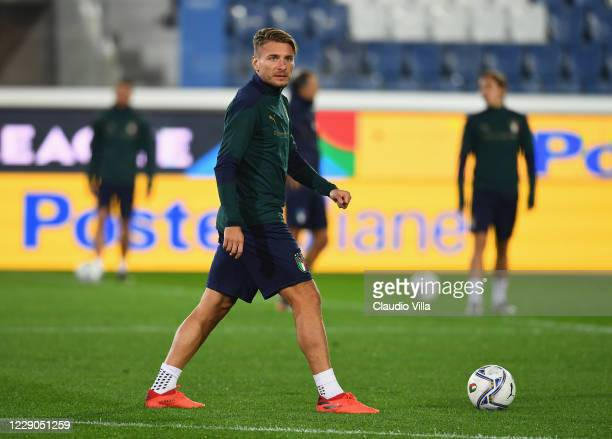 Ciro Immobile of Italy in action during a training session at Gewiss Stadium on October 13, 2020 in Bergamo, Italy.