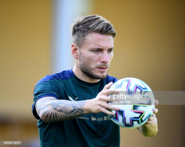 Ciro Immobile of Italy in action during an Italy training session at Centro Tecnico Federale di Coverciano on June 13, 2021 in Florence, Italy.
