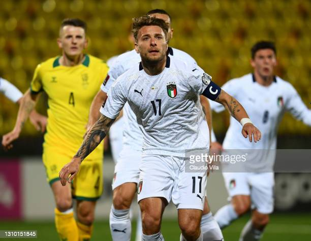 Ciro Immobile of Italy in action during the FIFA World Cup 2022 Qatar qualifying match between Lithuania and Italy on March 31, 2021 in Vilnius,...