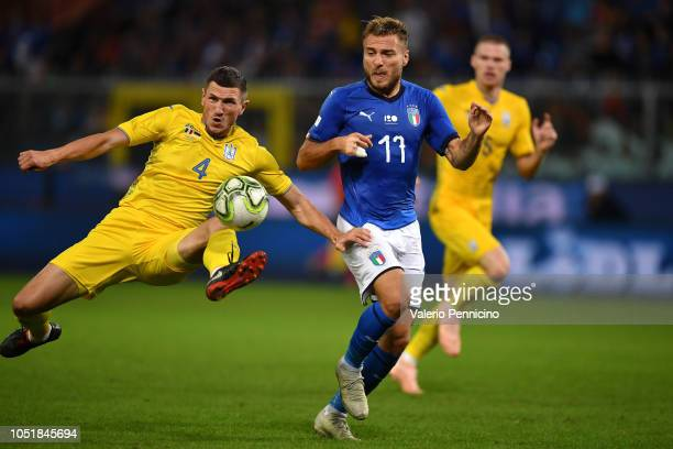 Ciro Immobile of Italy in action during the International Friendly match between Italy and Ukraine on October 10 2018 in Genoa Italy