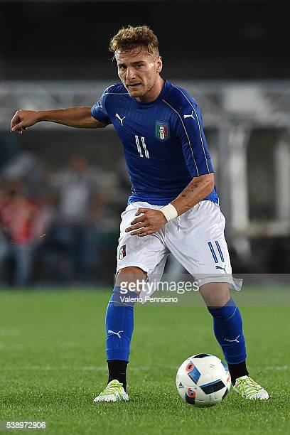 Ciro Immobile of Italy in action during the international friendly match between Italy and Finland on June 6 2016 in Verona Italy