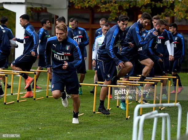 Ciro Immobile of Italy in action during the training session at the club's training ground at Milanello on November 14 2016 in Florence Italy