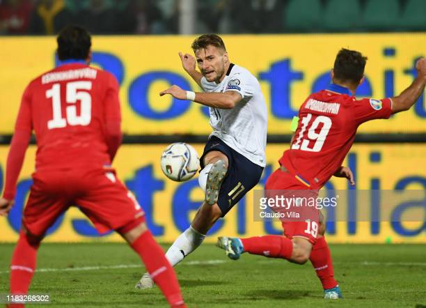 Ciro Immobile of Italy in action during the UEFA Euro 2020 Qualifier between Italy and Armenia on November 18 2019 in Palermo Italy
