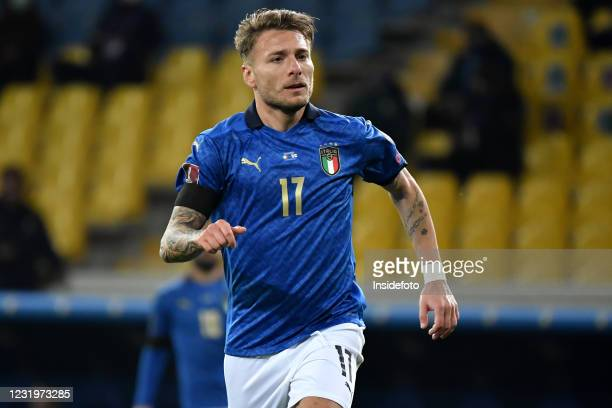Ciro Immobile of Italy looks on during the FIFA World Cup 2022 qualification football match between Italy and Northern Ireland. Italy won 2-0 over...