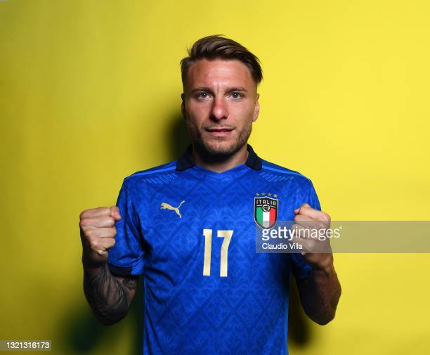 Ciro Immobile of Italy poses during an official portrait session at Centro Tecnico Federale di Coverciano at Coverciano on June 02, 2021 in Florence,...