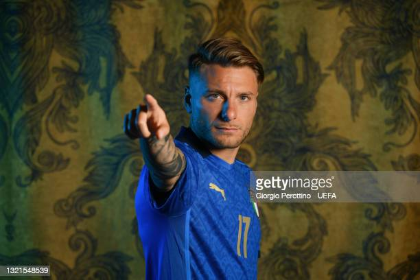 Ciro Immobile of Italy poses during the official UEFA Euro 2020 media access day at on June 02, 2021 in Florence, Italy.