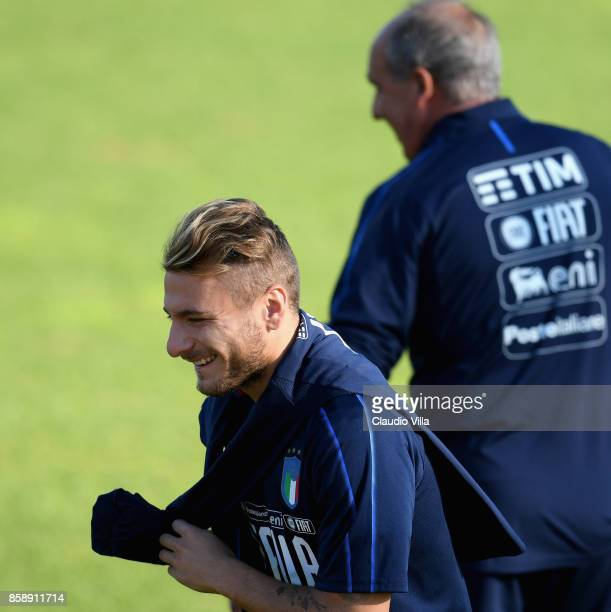 Ciro Immobile of Italy reacts during a Italy training session at Sisport Mirafiori on October 8 2017 in Turin Italy