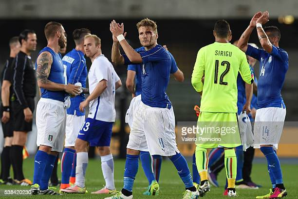 Ciro Immobile of Italy salutes the fans at the end of the international friendly match between Italy and Finland on June 6 2016 in Verona Italy