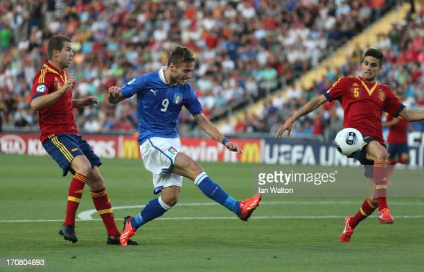 Ciro Immobile of Italy scores a goal during the UEFA European U21 Championships Final match between Spain and Italy at Teddy Stadium on June 18 2013...