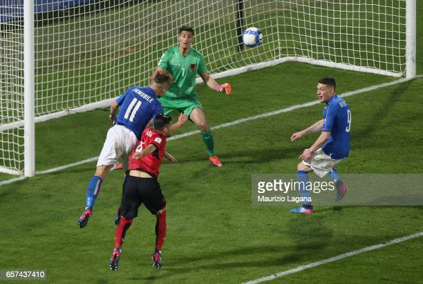 Ciro Immobile of Italy scores his team's second goal during the FIFA 2018 World Cup Qualifier between Italy and Albania at Renzo Barbera stadium on...