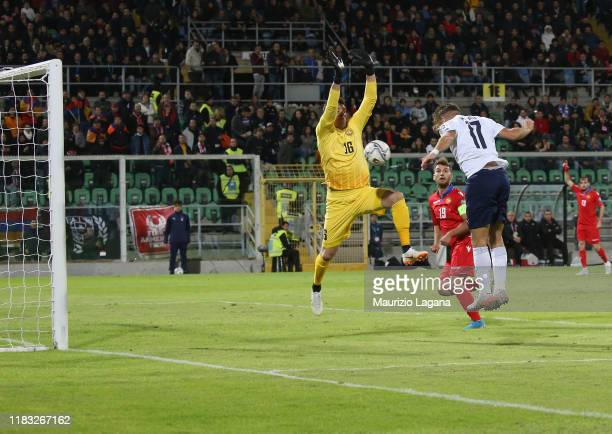 Ciro Immobile of Italy scores the opening goal during the UEFA Euro 2020 Qualifier between Italy and Armenia on November 18 2019 in Palermo Italy