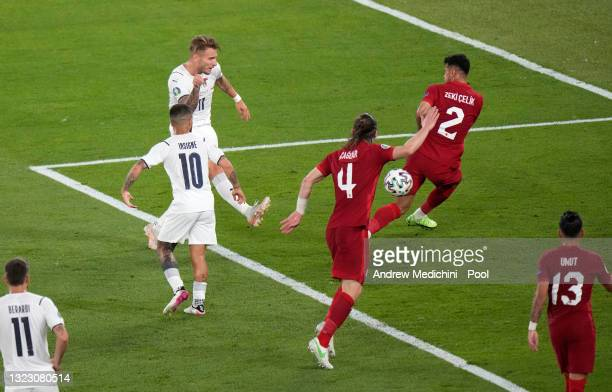 Ciro Immobile of Italy scores their side's second goal during the UEFA Euro 2020 Championship Group A match between Turkey and Italy at the Stadio...