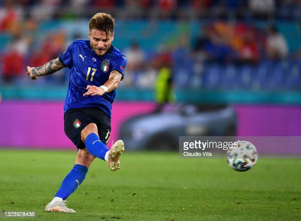 Ciro Immobile of Italy scores their side's third goal during the UEFA Euro 2020 Championship Group A match between Italy and Switzerland at Olimpico...