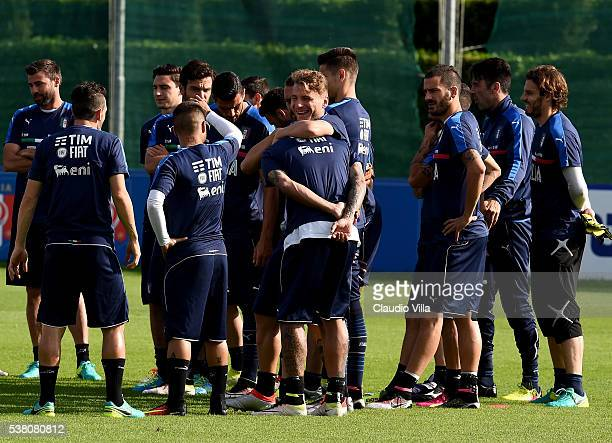 Ciro Immobile of Italy smile prior to the Italy training session at the club's training ground at Coverciano on June 04 2016 in Florence Italy