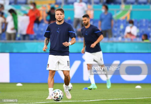 Ciro Immobile of Italy warms up prior to the UEFA Euro 2020 Championship Group A match between Turkey and Italy at the Stadio Olimpico on June 11,...