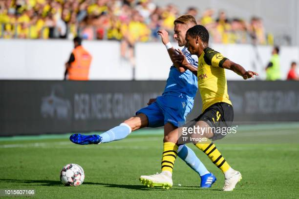 Ciro Immobile of Lazio and Abdou Diallo of Dortmund battle for the ball during the friendly match between Borussia Dortmund and Lazio on August 12...