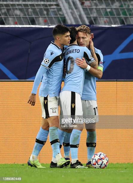 Ciro Immobile of Lazio celebrates after scoring their sides first goal with Luis Alberto of Lazio during the UEFA Champions League Group F stage...