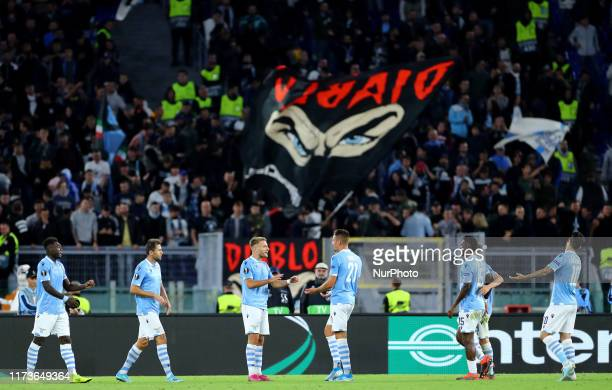 Ciro Immobile of Lazio celebrates with the teammates after scoring during the UEFA Europa League Group E match SS Lazio v Stade Rennais Fc at the...