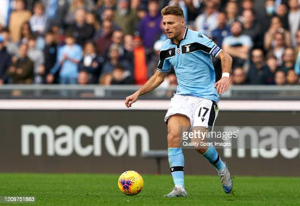 Ciro Immobile of Lazio in action during the Serie A match between SS Lazio and Bologna FC at Stadio Olimpico on February 29 2020 in Rome Italy
