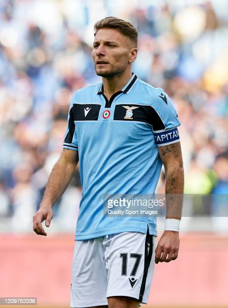 Ciro Immobile of Lazio looks on during the Serie A match between SS Lazio and Bologna FC at Stadio Olimpico on February 29 2020 in Rome Italy