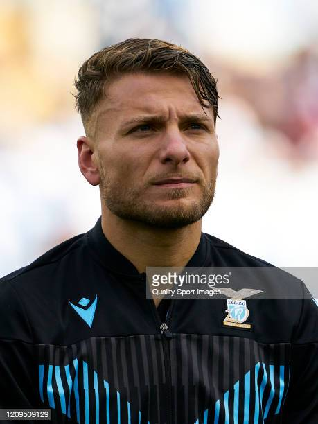 Ciro Immobile of Lazio looks on prior to the Serie A match between SS Lazio and Bologna FC at Stadio Olimpico on February 29 2020 in Rome Italy