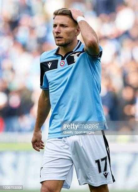 Ciro Immobile of Lazio reacts during the Serie A match between SS Lazio and Bologna FC at Stadio Olimpico on February 29 2020 in Rome Italy