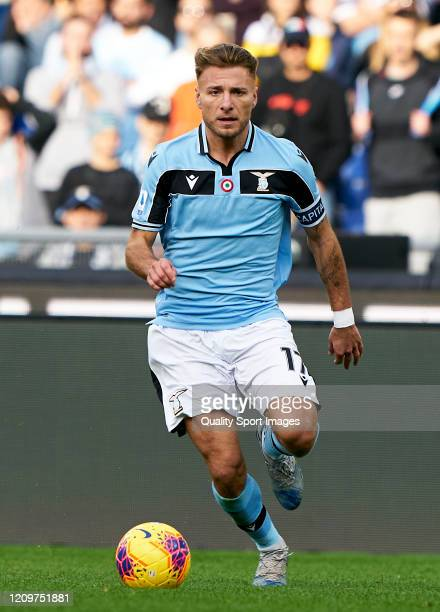 Ciro Immobile of Lazio runs with the ball during the Serie A match between SS Lazio and Bologna FC at Stadio Olimpico on February 29 2020 in Rome...