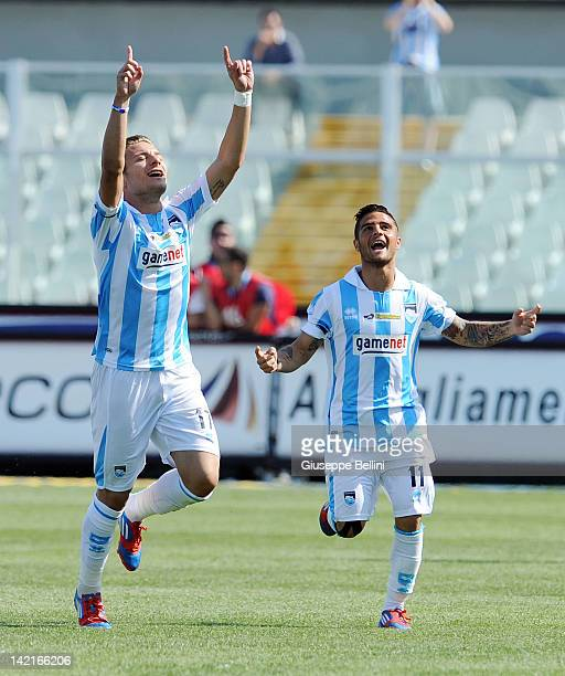 Ciro Immobile of Pescara celebrates after scoring the opening goal during the Serie B match between Pescara Calcio and AS Bari at Adriatico Stadium...