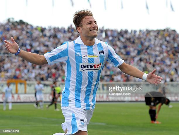 Ciro Immobile of Pescara celebrates after scoring the third goal during the Serie B match between Pescara Calcio and Vicenza Calcio at Adriatico...