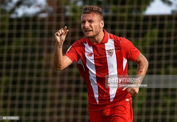 Ciro Immobile of Sevilla reacts during a Pre Season Friendly match between Sevilla and Alcorcon at Pinatar Arena Stadium on July 19 2015 in San Pedro...