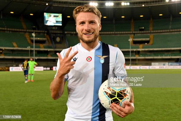 Ciro Immobile of SS Lazio at the end of the game with the ball after the three goals scored after the Serie A match between Hellas Verona and SS...