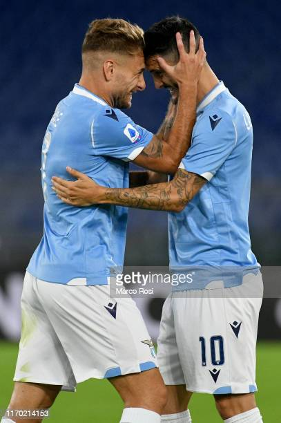 Ciro Immobile of SS Lazio celbrate a opening goal with his team mates during the Serie A match between SS Lazio and Parma Calcio at Stadio Olimpico...