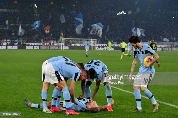 Ciro Immobile of SS Lazio celebrate a frist goal a penalty with his bteam mates during the Serie A match between SS Lazio and FC Internazionale at...